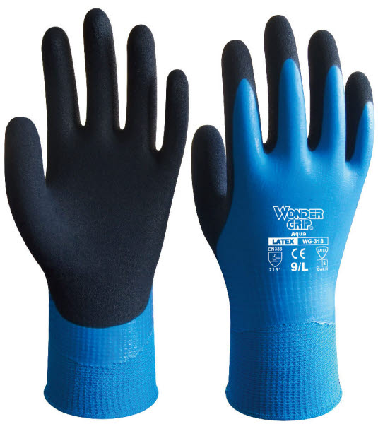 Wondergrip Aqua Nylon Strickhandschuh mit Latex - Wondergrip Aqua - Nylon-Strickhandschuh mit Latex - Stichschutzhandschuhe